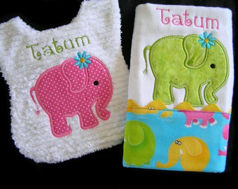 Personalized Baby Bib and Burp Cloth - Gift Set - Appliqued Elephant - White Chenille