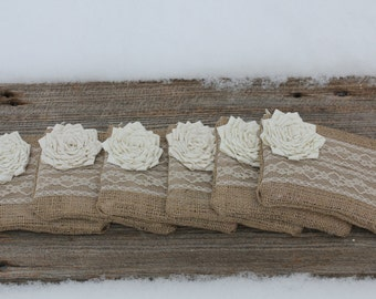 Set of 6 Bridesmaid Clutches, Bridesmaid Gifts, Burlap Lace Wedding Clutches, Wedding Bags and Purses, Wedding Party Gifts, Rustic Wedding