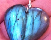 Labradorite Heart Shaped Pendant with Lots of Flash