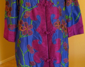 Vintage Sabina of India Embroidered Dress Coat Silk Beaded Floral India  S-M