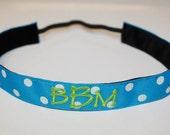 Monogrammed ribbon non-slip headbands