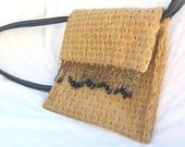 Golden  Fabric Handbag with Fringe - LunaEssence