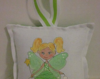 Tooth Fairy Pillow - Girl Fairy with blonde hair - Hand Painted -  Personalized Name FREE