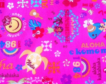 Kawaii Fabric in Happy Hawaiian Words, Cotton Canvas print, 1 yd