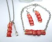 Bacon Set Jewelry - Bacon earrings, necklace, bracelet, food jewelry (bacon set) bacon bracelet, minimalist bracelet, minimalist jewelry
