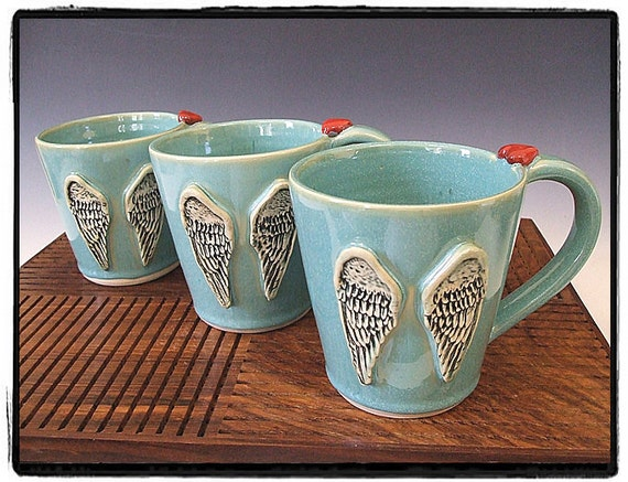Angel Heart Mug in Turquoise by misunrie