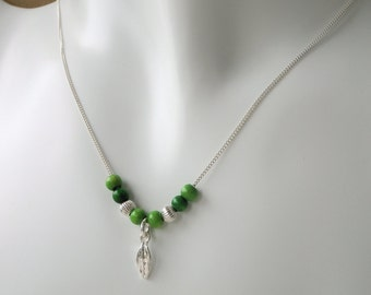 Tiny Thyme Leaf Jewelry - Pure Silver Real Leaf Pendant with Wooden Green Beads