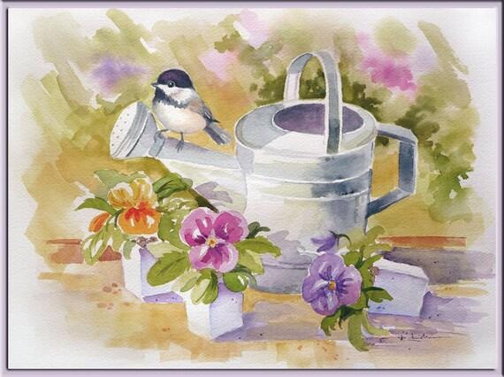 Watercolor Painting Chickadee Pansies Watering Can Original