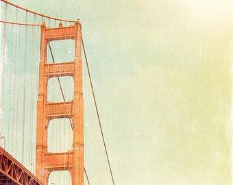 BUY 2 GET 1 FREE San Francisco Photography, Golden Gate Bridge, Orange, Retro San Francisco, Golden Sunshine, Wall Decor - Orange Bridge