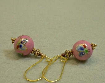 Vintage Chinese Butterfly Porcelain Pink Bead Earrings, Gold Kidney Ear Wires