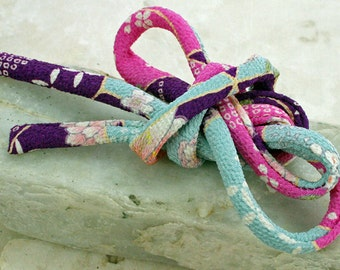 Japanese Chirimen Cording - Necklace or Bracelet Cord Kimono Fabric 816B
