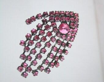 Pink Rhinestone Brooch Art Deco Vintage Black Japanned Dangles