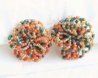 Peach Green Beaded Earrings Art Deco Vintage Pinwheel Tube Beads Colorful Clip On