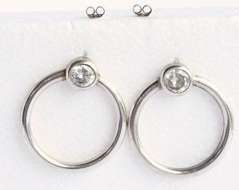 Silver Side Hoop Earrings Vintage Signed Cellini Large Door Knocker Faceted Crystal Accent