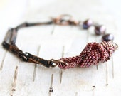 Black Red Beadwork Chain Bracelet Maroon Beadwoven Knot Lavender Pearl Patina Copper Tied Handmade Jewelry