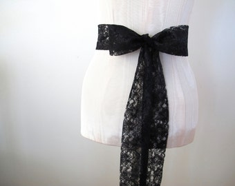 Black Lace Sash Wedding Sash Bridesmaid Sashes by ccdoodle on etsy - made to order