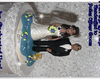 Wedding Cake Topper, Nurse Bride, Police Officer Groom