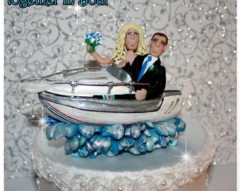 Wedding Cake Topper, Bride & Groom in a Boat