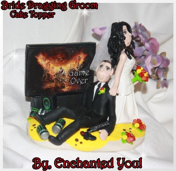 Wedding Cake Topper Bride Dragging Groom