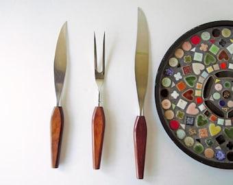 1950s Flatware Vintage Mid Century Modern Meat Carving Set Fork Knife