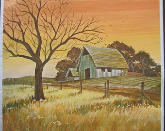 Vintage Print of a Country Barn. FREE U.S. SHIPPING