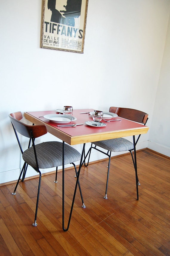 Mid Century Modern Square Table with Hairpin Legs and Red Laminate Top