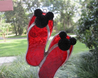 Red Bling Mouse Ears Flipflop Suncatcher
