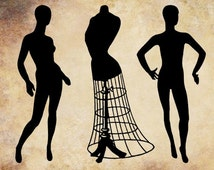 wire dress form mannequins png file sewing steampunk clip art stamp Digital Download graphics