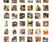 Alice in Wonderland clip art collage sheet .75 x .83 inch scrabble size
