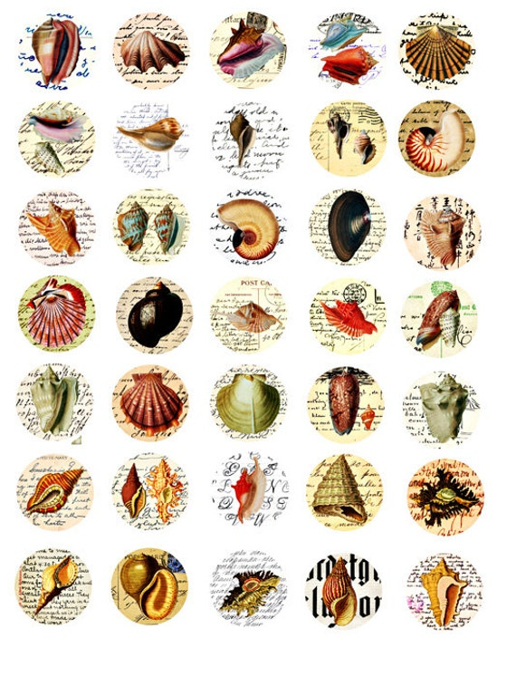 30mm circles sea shell HANDWRITING postcards collage sheet