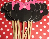 Double-sided Minnie cupcake toppers