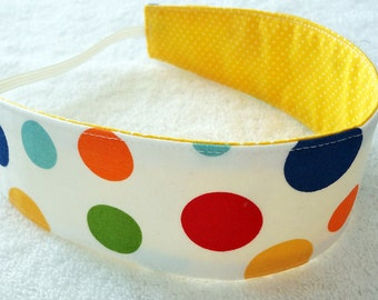 Summer headband, reversible headband, child fabric headband, baby newborn women adult dot circle yellow red navy blue girl party favor gift