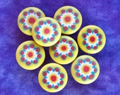 Sunburst Flower Plastic Buttons 15mm - 5/8 inch Retro Daisy Flowers on Yellow - 8 VTG NOS Mod Daisy Millefiori Flower Shank Buttons PL190