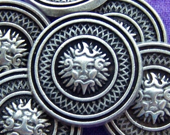 Sun Face Buttons, 23mm 7/8 inch - Silver Tone Whimsical Cloud Face Metal Buttons - 6 VTG NOS Antique Silver Tone Metal Nautical Buttons MT44