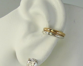 EAR CUFF Silver and Gold Ear Band Cartilage Clip Wrap Fake Conch Earring Faux Conch Earring Cartilage No Piercing Double Half Round  ETTGFSS