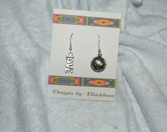 Mix ups Handcrafted love and soccer dangle earrings with sterling silver earwires