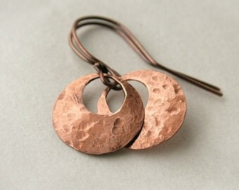 Small Hoop Earrings - Copper Hoop Earrings - Hammered Copper Earrings - Copper Jewelry - Textured Hoops - Gift Under 20