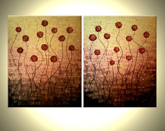 Original Flowers Abstract Impasto Gold Red Roses Poppies Painting, Textured Palette Knife Art by Lafferty - 30X48 - 22% Off