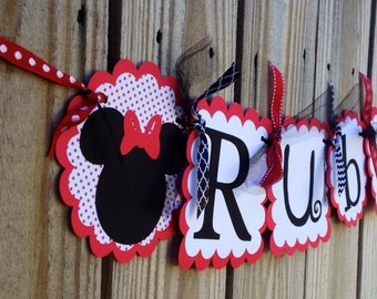 Whimzical Name banner in Classic Minnie Mouse Red