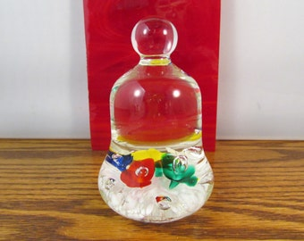 Vintage Glass Paperweight Maude and Bob St Clair 1977 Floral Paperweight Primary Colors