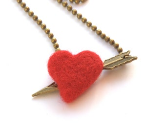 Felted red Valentine heart Cupid arrow necklace Valentine jewelry bronze tone chain charm pendant Weddings Birthday gift for her love