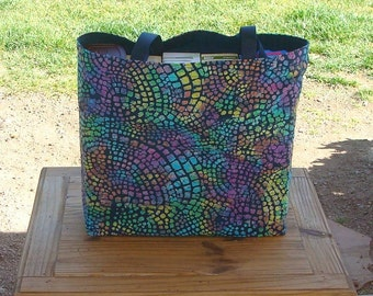 Multicolored Mosaic Batik Print Reusable Shopping Tote Bag