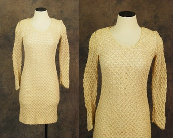 vintage 60s Sweater Dress - Ivory and Metallic Gold Sheer Knit Lace - 1960s Wiggle Dress Sz S