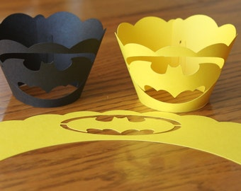 Batman Inspired Cupcake Wrappers -- Set of 12