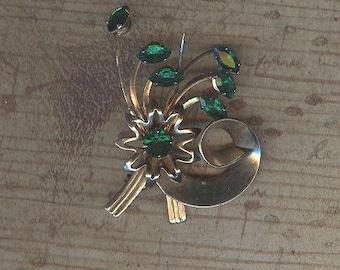 Vintage Brooch with Green Rhinestones
