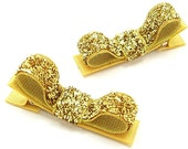 Gold Glitter Hair Clips, Glitter Hairbows, Sparkly Tuxedo Clips, Glam, Baby Toddler Girls Holiday Hair Clips, One Pair Glitter Clippies