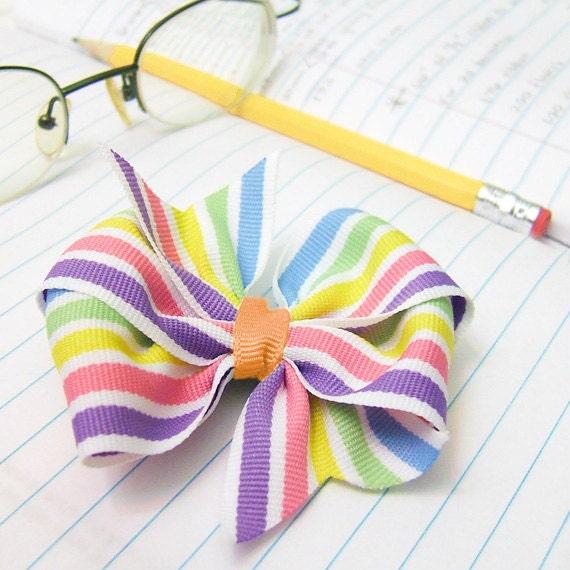 Rainbow Stripe Hair Bow 3 inch Pinwheel Bow Preppy Stripe Rainbow Boutique Bow Back To School Bow, Handmade