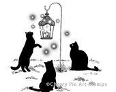Black CATS playing with FAIRIES- CLiNG RuBBer STaMP by Cherry Pie Art Stamps