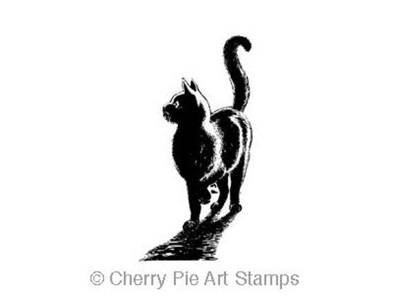NIGHT CAT - cling CUSHIONED rubber stamp by Cherry Pie Art Stamps
