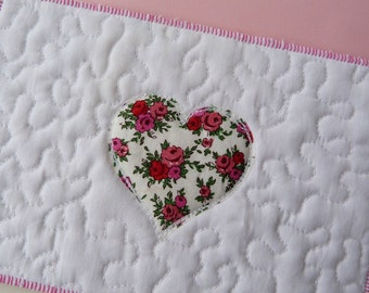 Sweetheart Textile postcard - Vintage Liberty floral heart Correspondence card, wall art - made from Liberty tana lawn
